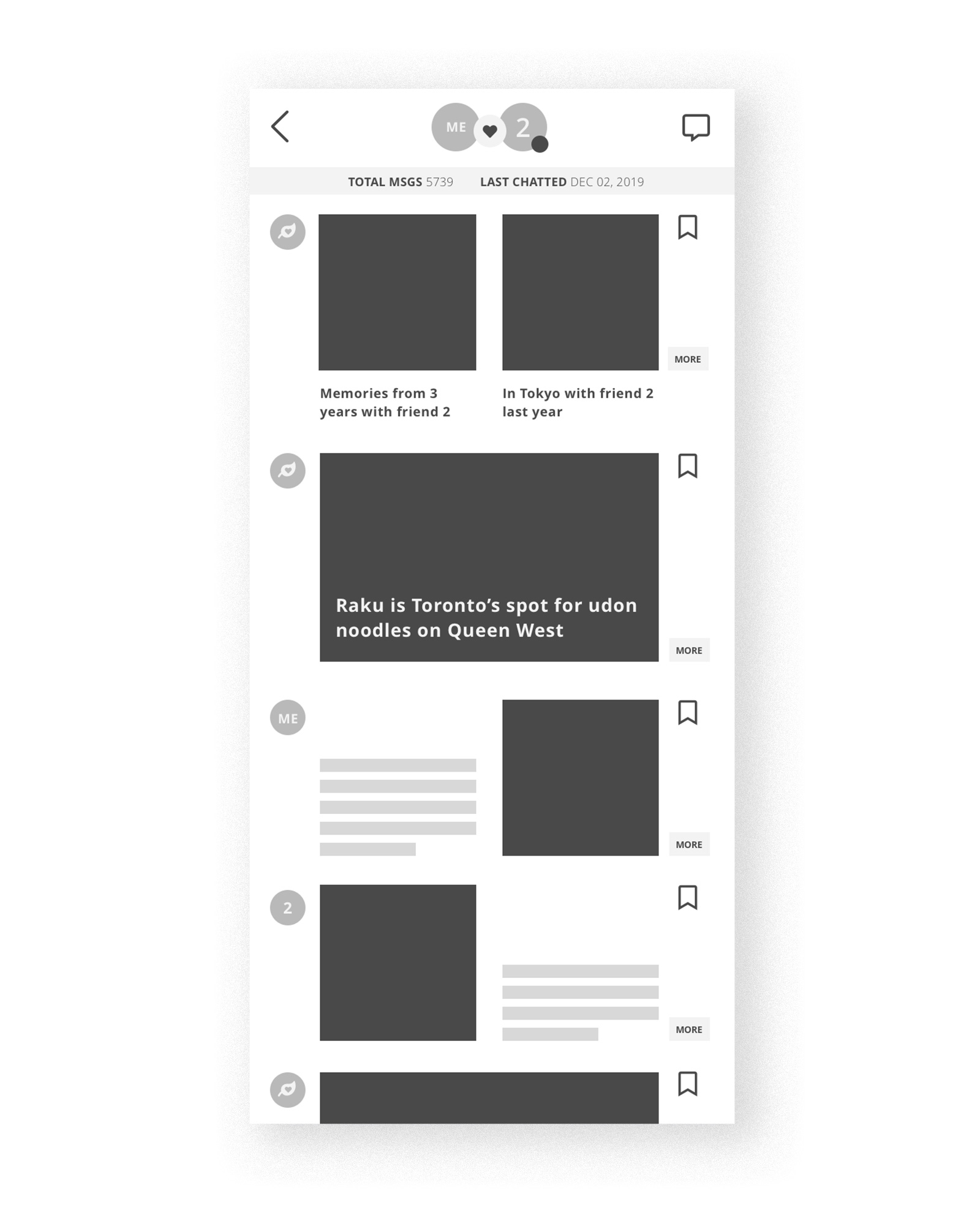 Version 4: A digital version of V3, showing a feed where the app can suggest stories and user can add to it